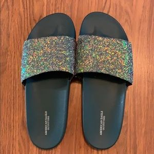 American eagle slip on glitter sandals. Size 10.